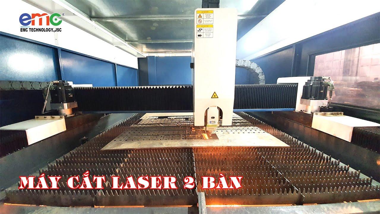2 Máy Cắt Laser EMC bàn chuyển đổi hoạt động tại Thép Cường Oanh