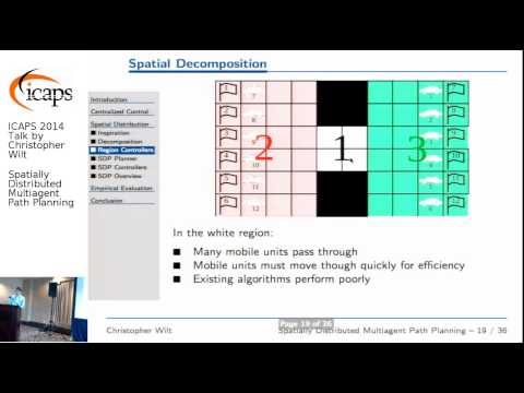 "ICAPS 2014: Christopher Wilt on ""Spatially Distributed Multiagent Path Planning"""