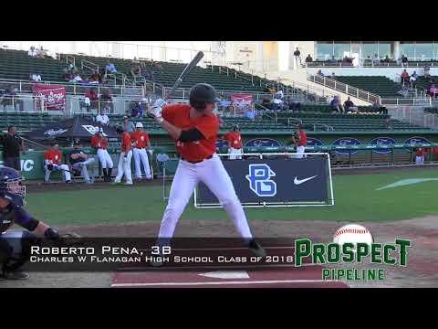 Roberto Pena prospect video, 3B, Charles W Flanagan High School Class of 2018