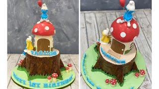 Smurf Cake  Tree Stump Cake  Mushroom Cake