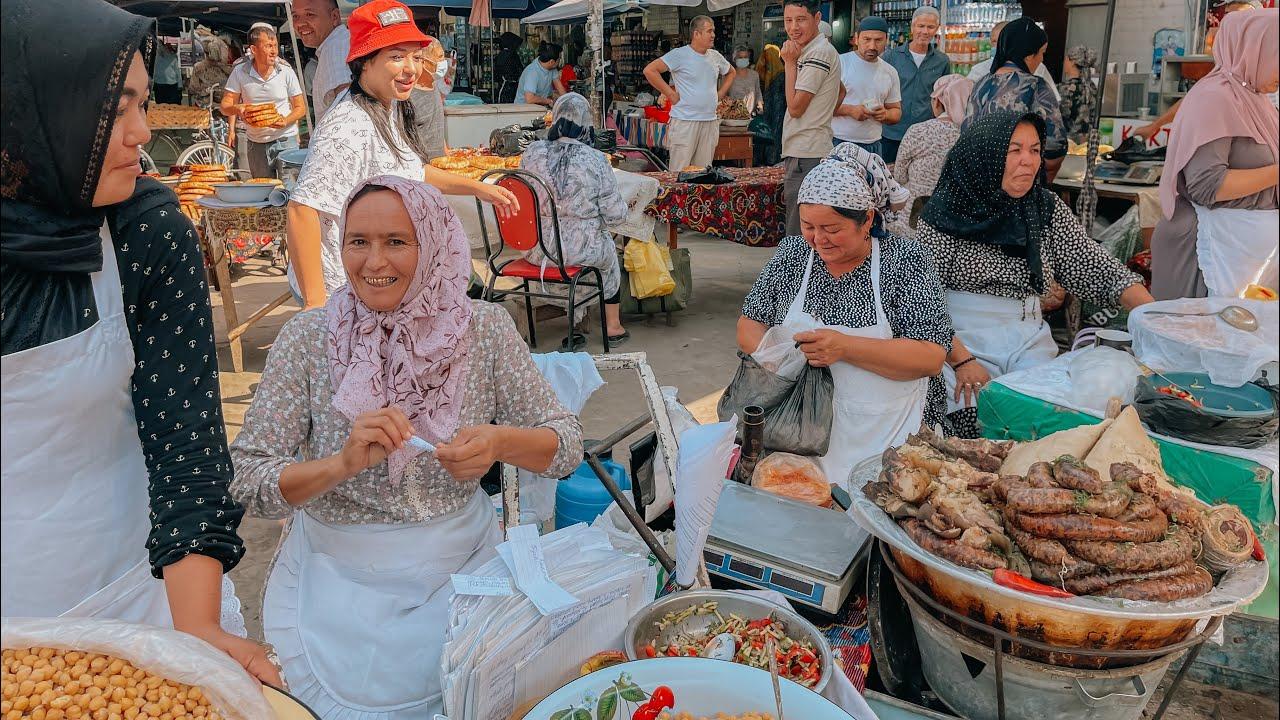 Узбекистан ! Восточный базар ! Самса. ЧЕБУРЕКИ ! Шашлыки ! Домашние лепёшки! Уличная еда !