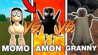 MOMO vs GRANNY vs AMON_40L in ROBLOX !! BATTLE SIMULATOR