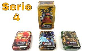Alle 4 Tin Boxen vom LEGO Ninjago Trading Card Game Serie 4