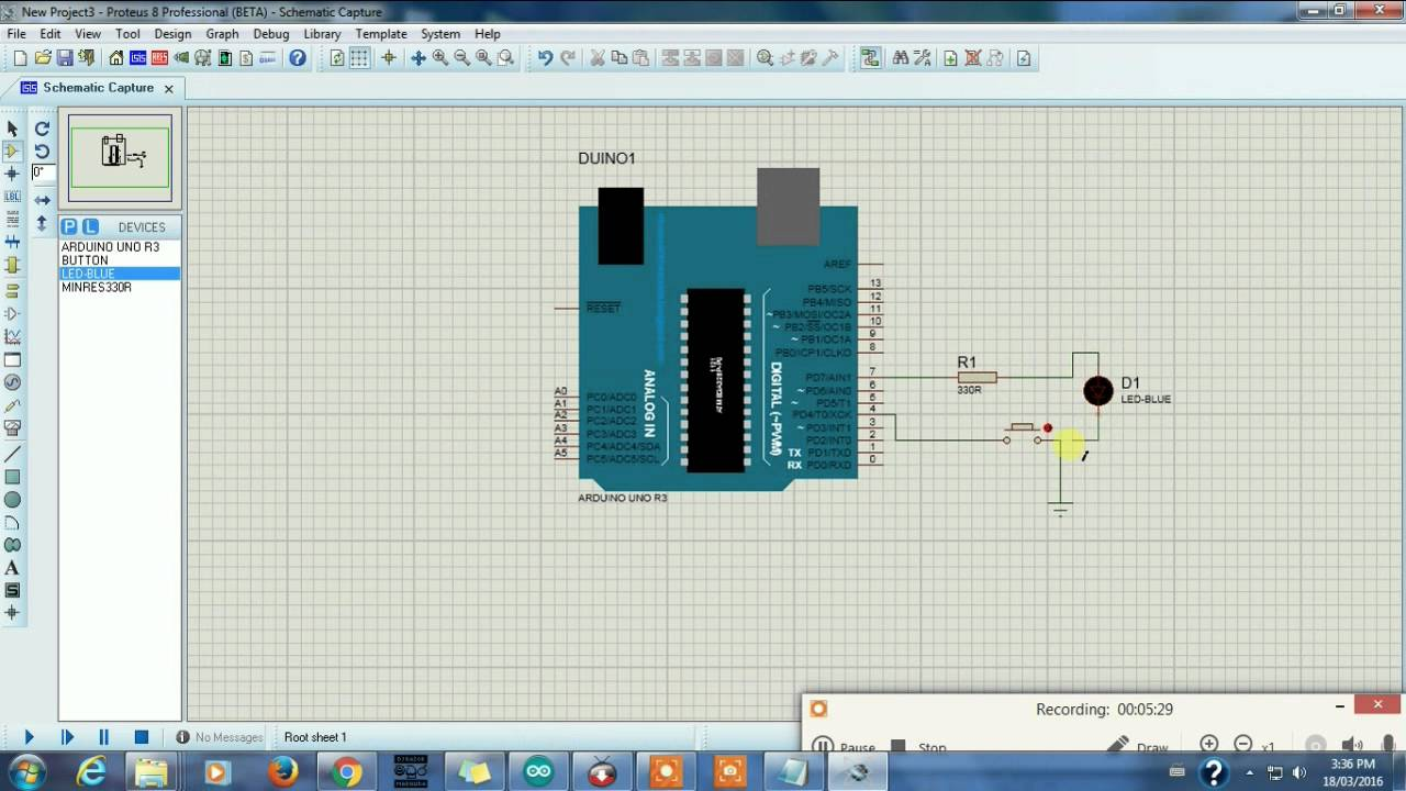 Arduino simulation in proteus isis tutorial youtube