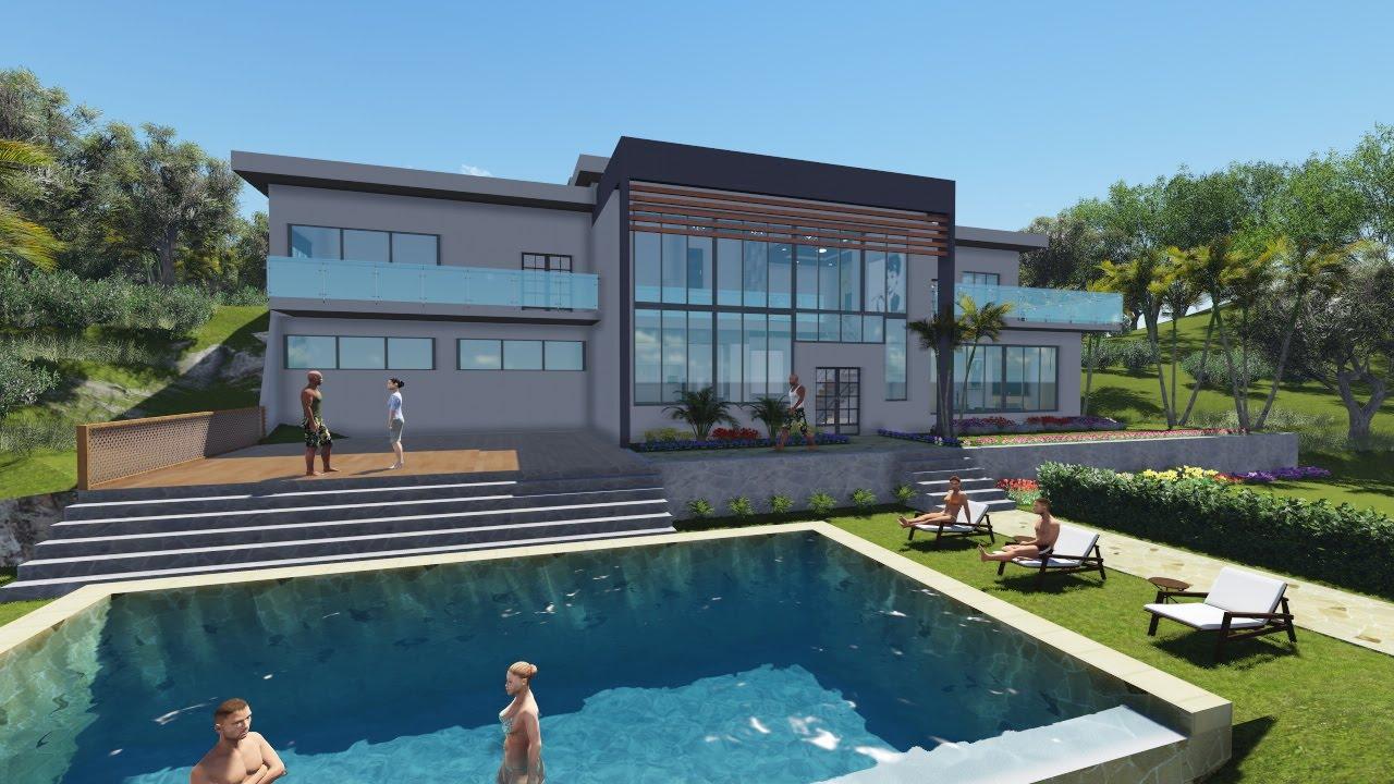 Recorrido virtual casa de playa lumion sketchup youtube for Casas modernas recorrido virtual
