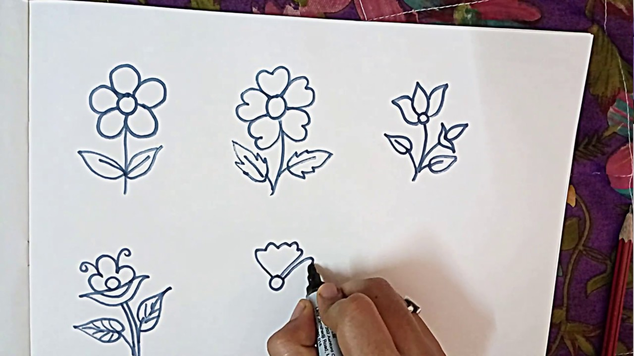 How To Draw Flowers Easy For School Drawing Competition Youtube