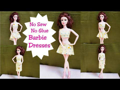 How to make No Sew No Glue Doll Dresses/DIY 7 Very Easy Barbie Outfits from a Piece of Fabric