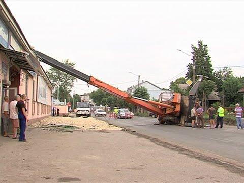 Падение крана на здание в Йошкар-Оле