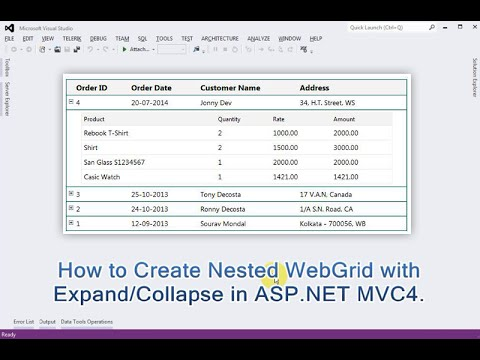 Nested WebGrid with Expand/Collapse in ASP NET MVC