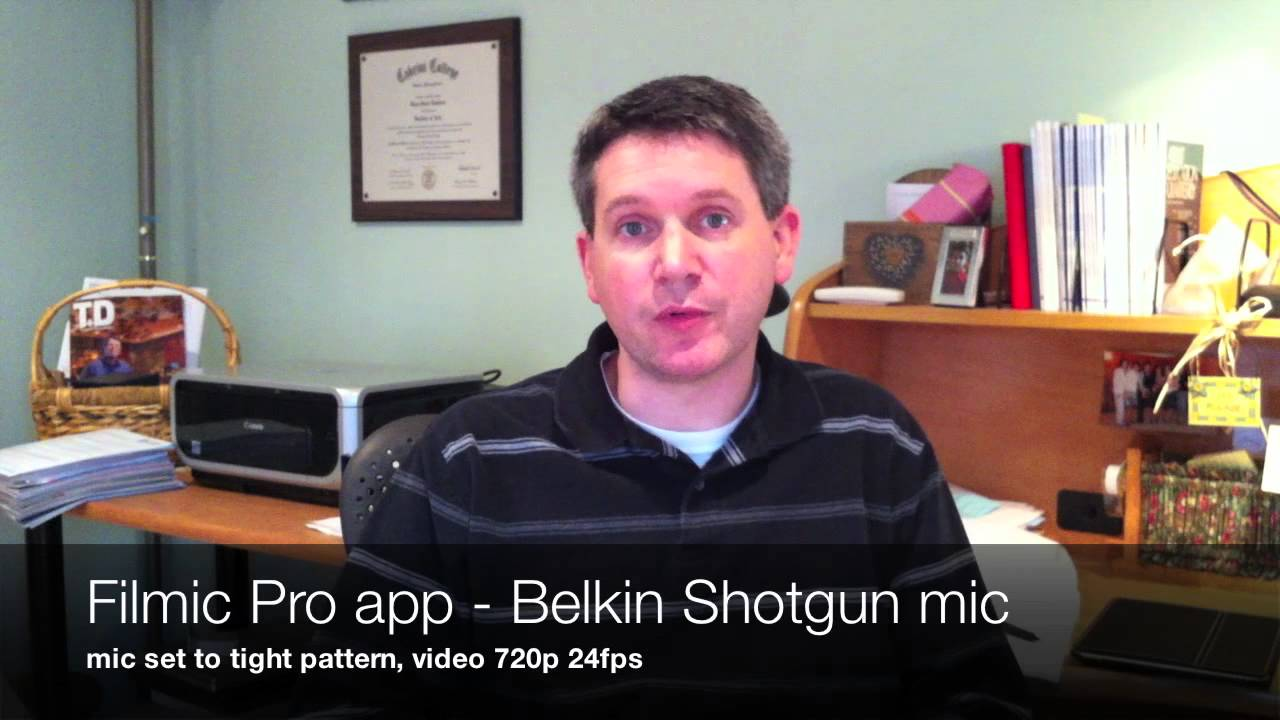 Filmic app and Belkin Shotgun mic Test - YouTube