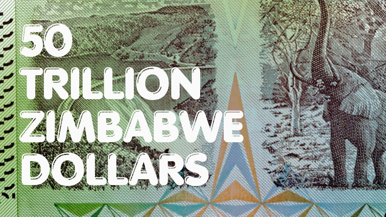 50 Trillion Zimbabwe Dollars Featuring Kariba Dam And The African Bush Elephant