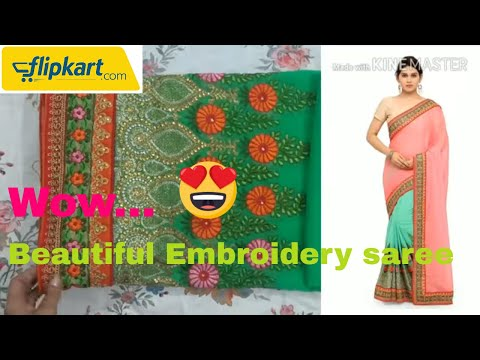 flipkart-new-saree-review-sari-ಸೀರೆ-ఎంబ్రాయిడరీ-చీర-shopping-for-wedding-designer-half-saree