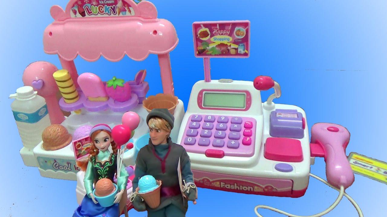 Đồ chơi tiệm kem, máy bán hàng siêu thị – Búp bê công chúa Anna và Kristoff hẹn hò ăn kem