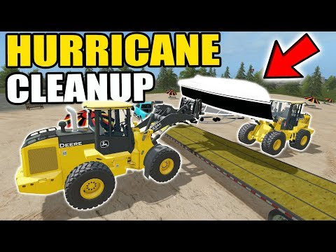 Thumbnail: FARMING SIMULATOR 2017 | CLEANING UP BEACHED BOATS, ATV + FLIPPED MOBILE HOME FROM HURRICANE