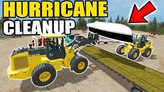 FARMING SIMULATOR 2017 | CLEANING UP BEACHED BOATS, ATV + FLIPPED MOBILE HOME FROM HURRICANE