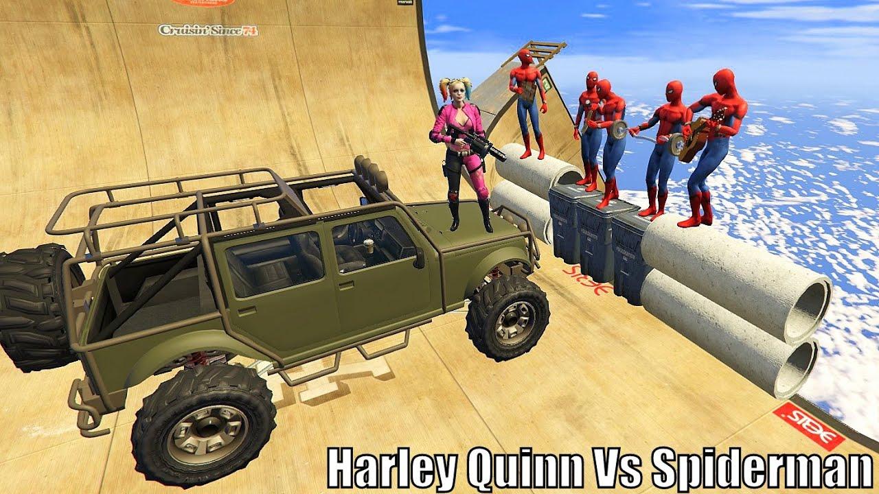 GTA 5 Epic Ragdolls Spiderman Vs Harley Quinn Fails/Jumps vol.1 (Euphoria Physics / Funny Moments )