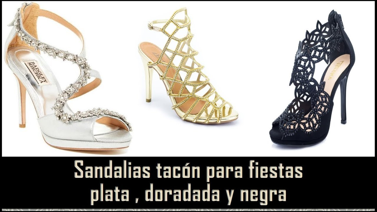 b0c3bced3002b8 Sandalias Tacon para Fiestas Plata Dorada y Negra 😊BELLEZA EN MODA ...