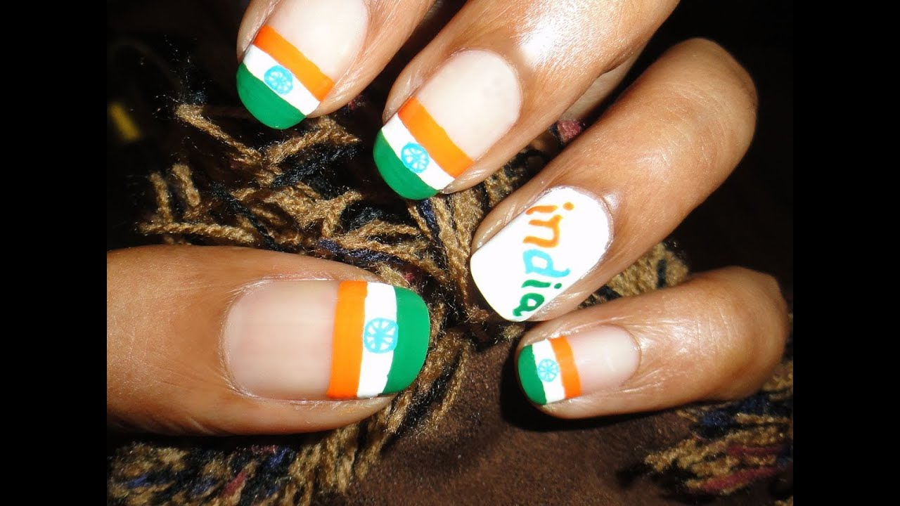 India Flag Nail Art - August 15 - YouTube