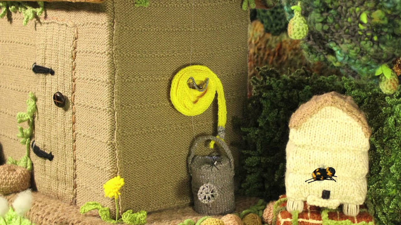 Spotted in the knitted gardens of Woolly Bush (clips) - YouTube