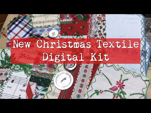 New Christmas Textile Digital Kit / textile journaling cards & tags