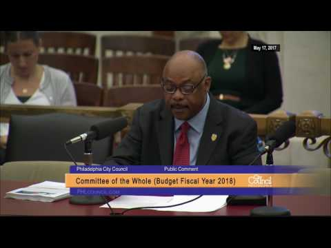 FY2018 Philadelphia City Council Budget Hearing 5-17-2017 Jerry Jordan Testimony
