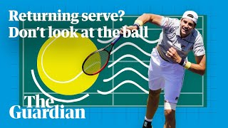 Returning a pro tennis serve: just don't watch the ball