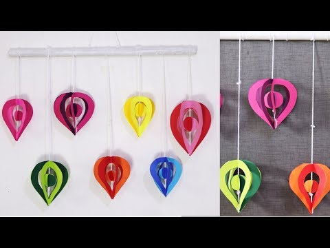 Easy paper wall hanging crafts for kids - DIY paper wall decoration ideas
