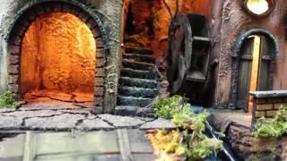 Presepe napoletano 40 x 50 con cascata e luci funzionanti Napoli San Gregorio