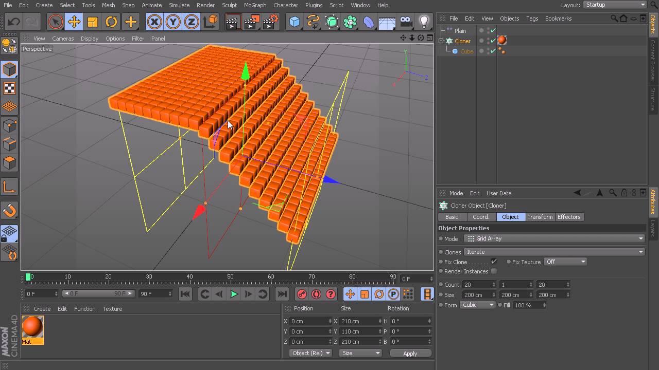 CINEMA 4D Tutorial: The MoGraph Effector tab