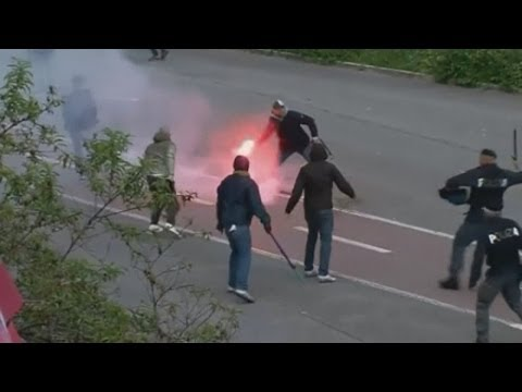 Football fans clash before Italian Cup final