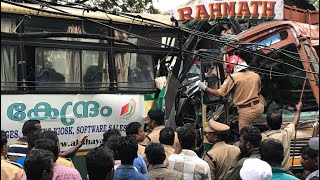 Accident at kottiyam kollam three person dies KSRTC bus crash with lorry live CCTV footage.