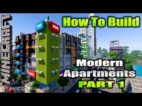 Minecraft How To Build Low Rise Modern Apartments & High Street Shop Stores Part 1 EASY