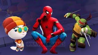 RUN RUN RUN ! MY TALKING ANGELA VS NINJA TURTLES VS SPIDER-MAN