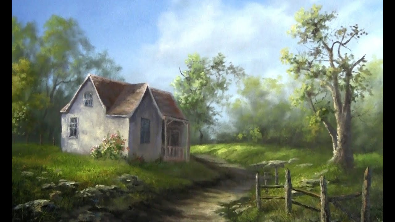 Oil painting old farm house paint with kevin hill youtube for House painting images