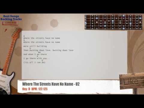 Where The Streets Have No Name - U2 Guitar Backing Track with chords and lyrics
