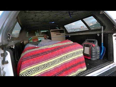 Home Made $100 Truck Camper Setup for Winter Camping (DIY Boondocking)