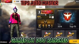 GAME PLAY DUO RANK.!!! AUTO MASTER ( SEASON 8 ) FREE FIRE BATTLEGROUND