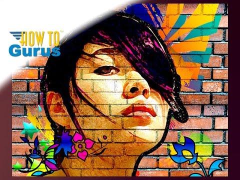 Photoshop Elements Art | How to Make a Graffiti Street Portrait on Wall | 15 14 13 12 11 Tutorial