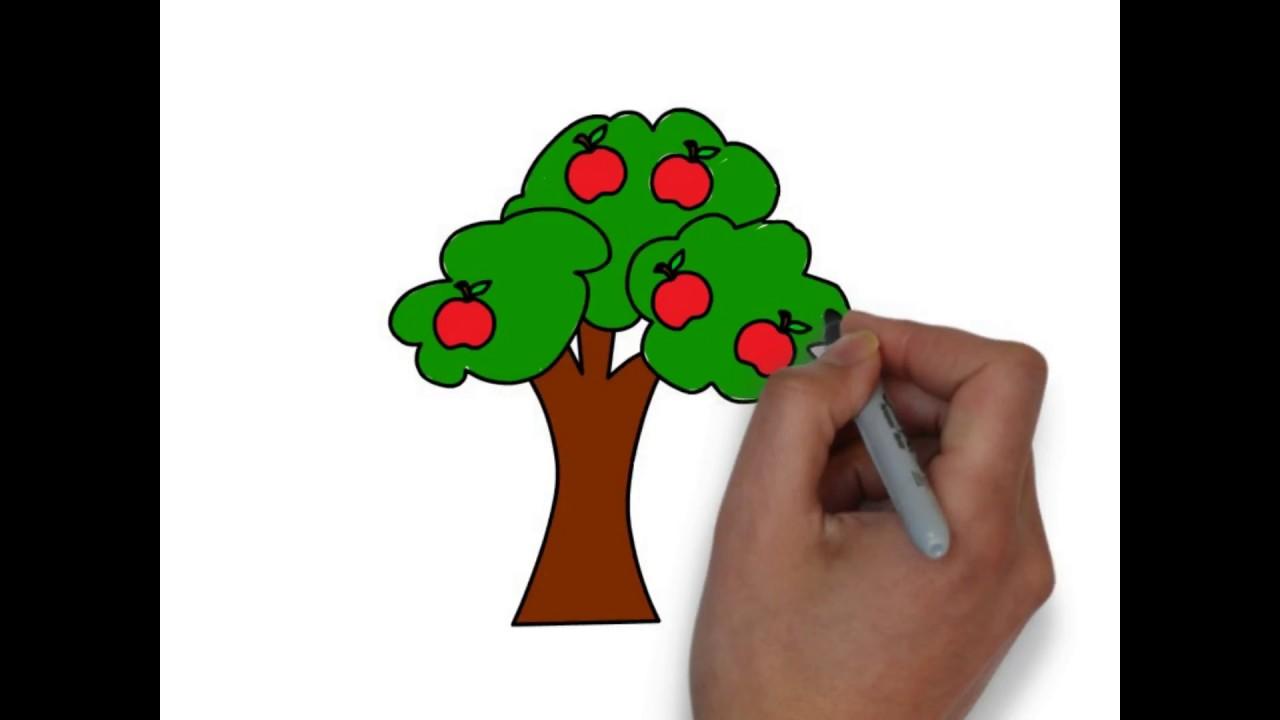 How to draw a cartoon apple tree - Free & Easy Tutorial ...