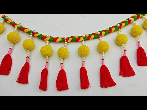 Diy Easy Woolen Pom Pom Door Hanging // New design door hanging making