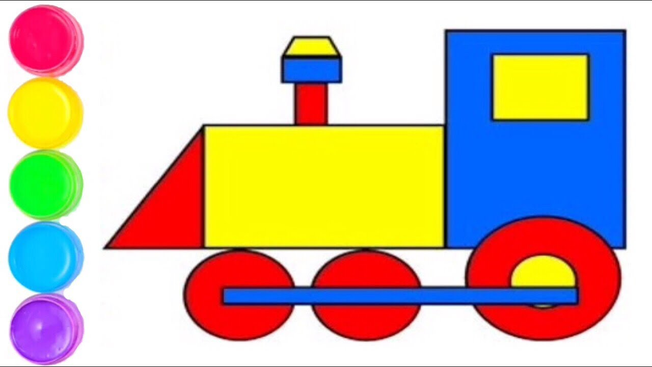 How To Draw Trains With Shapes Step By Step Easy Drawing Learn