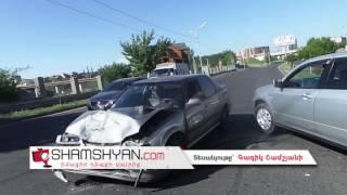 Շղթայական ավտովթար Երևանում  Եղվարդի խճուղում բախվել են Honda ն, Mitsubishi ն և Opel ը