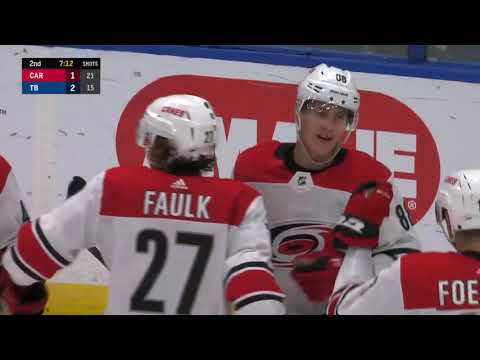 Martin Necas one-times his first NHL goal