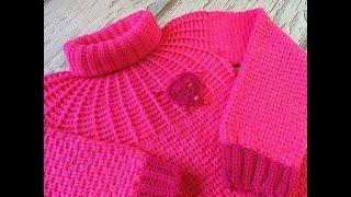 Детский свитер крючком на круглой кокетке. Экспресс МК.
