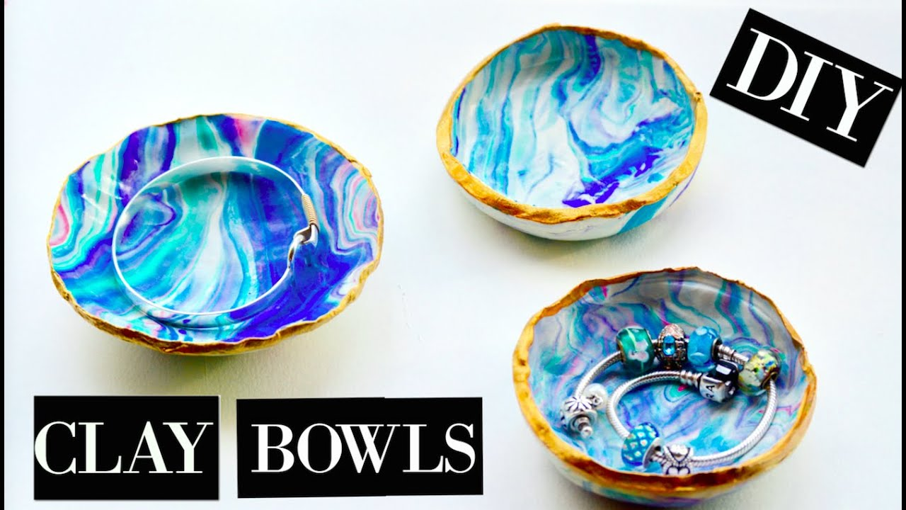 DIY: MARBLE CLAY BOWLS - YouTube