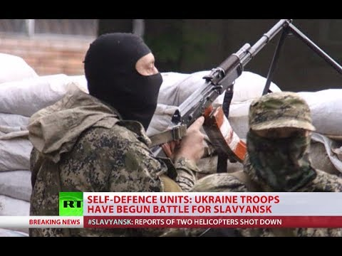 Ukraine troops storm east Slavyansk with helicopters, APCs