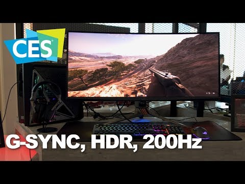 The ASUS PG35VQ monitor combines G-SYNC, HDR, and 200Hz