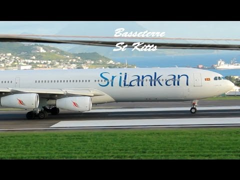 SriLankan Airlines A340-300 departing St Kitts (1080p HD)