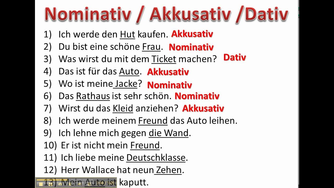 Determining cases with nominative accusative and dative for Nominativ akkusativ dativ