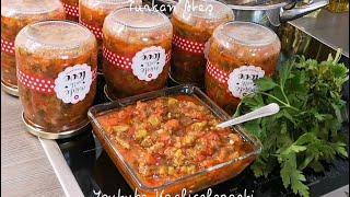 Kışlık közlenmiş Patlıcan ve Kırmızı Biberli konserve sos🍆🌿🌶️